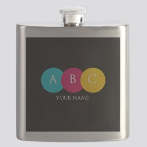 Bright Pop Circles Initials Flask