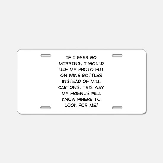 Wine Bottle Missing Aluminum License Plate