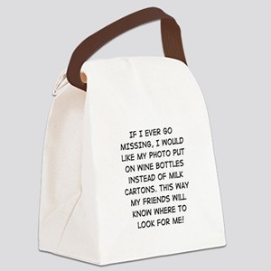 Wine Bottle Missing Canvas Lunch Bag