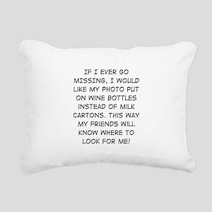 Wine Bottle Missing Rectangular Canvas Pillow