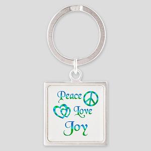 Peace Love Joy Square Keychain