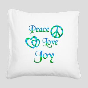 Peace Love Joy Square Canvas Pillow