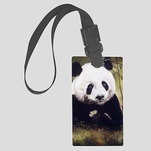 Panda Bear Munching Large Luggage Tag