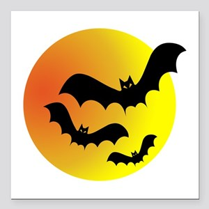 "Bat Silhouettes Square Car Magnet 3"" x 3"""