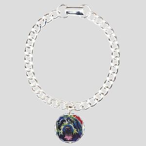 Red Blue & Lime Wire Hai Charm Bracelet, One Charm