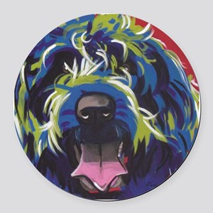 Red Blue & Lime Wire Hair Griffon Round Car Magnet
