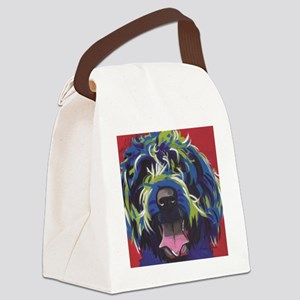 Red Blue & Lime Wire Hair Griffon Canvas Lunch Bag