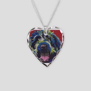 Red Blue & Lime Wire Hair Gri Necklace Heart Charm