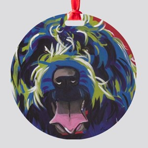 Red Blue & Lime Wire Hair Griffon  Round Ornament