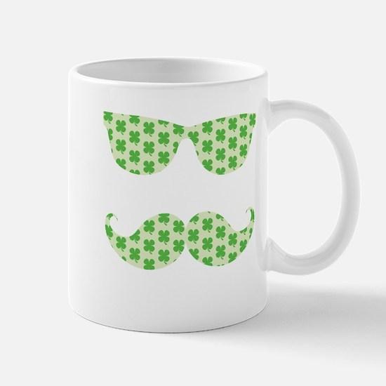 Irish Shamrocks Mustache Face Mugs