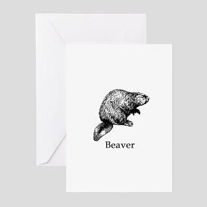 Beaver (line art) Greeting Cards
