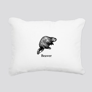 Beaver (line art) Rectangular Canvas Pillow