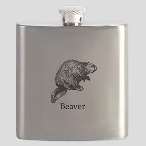 Beaver (line art) Flask