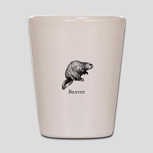 Beaver (line art) Shot Glass