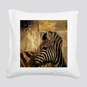 wild zebra safari Square Canvas Pillow