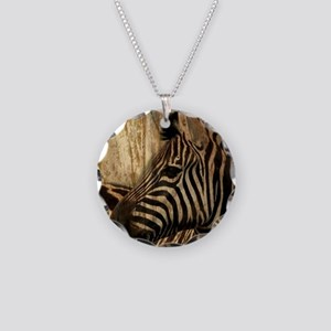 wild zebra safari Necklace Circle Charm