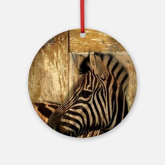 wild zebra safari Round Ornament
