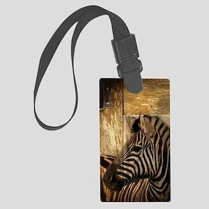 wild zebra safari Large Luggage Tag