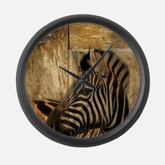 wild zebra safari Large Wall Clock
