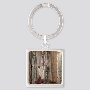 country cowboy boots Square Keychain