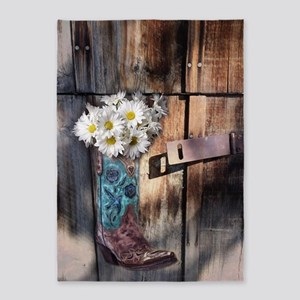 daisy country cowboy boots 5'x7'Area Rug