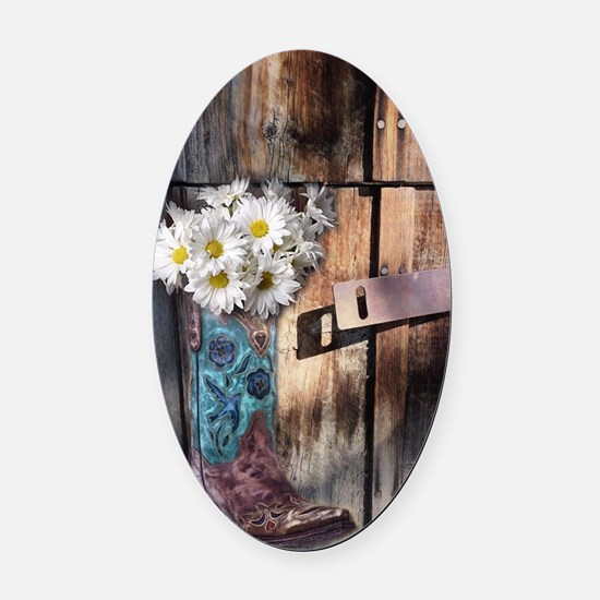 daisy country cowboy boots Oval Car Magnet