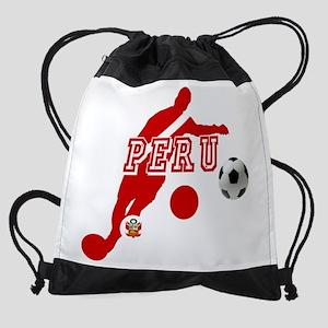 Peru Football Player Drawstring Bag