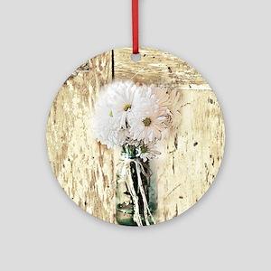 country daisy mason jar Round Ornament