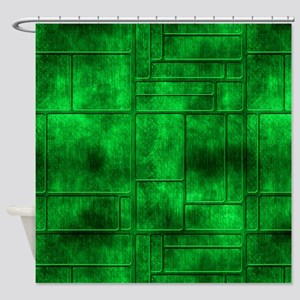 Industrial Green Metal Shower Curtain