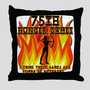 75th Hunger Games Girl on Fire Throw Pillow