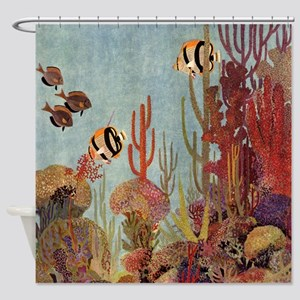 Vintage Tropical Angelfish Shower Curtain