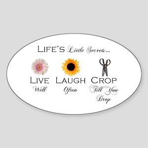 Live. Laugh. Crop. Oval Sticker