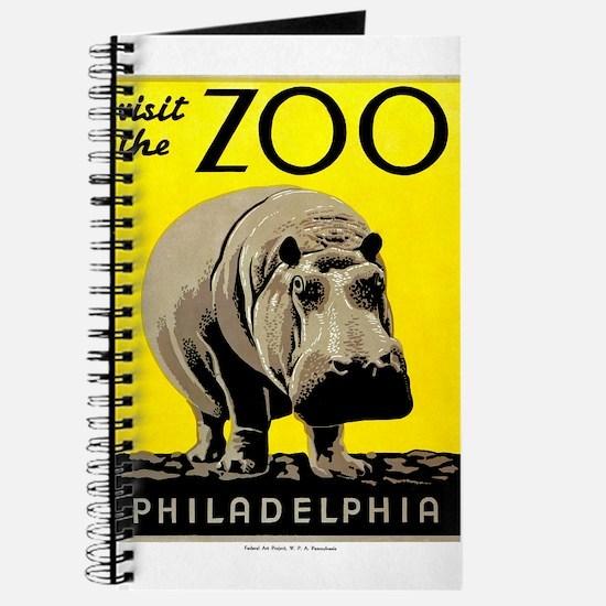 Antique 1936 Hippo Philadelphia Zoo Poster Journal