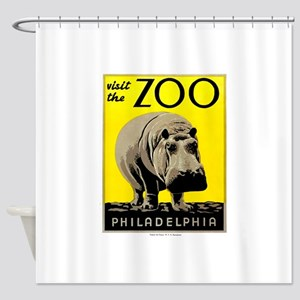 Antique 1936 Hippo Philadelphia Zoo Poster Shower
