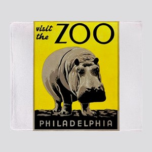 Antique 1936 Hippo Philadelphia Zoo Poster Throw B