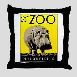Antique 1936 Hippo Philadelphia Zoo Poster Throw P