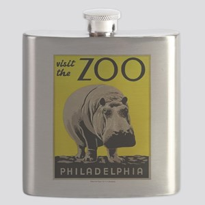 Antique 1936 Hippo Philadelphia Zoo Poster Flask