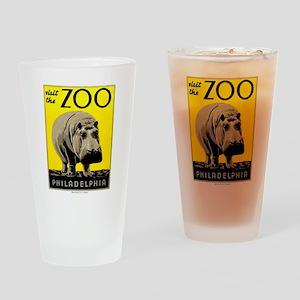 Antique 1936 Hippo Philadelphia Zoo Poster Drinkin