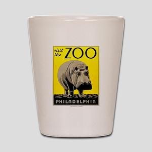 Antique 1936 Hippo Philadelphia Zoo Poster Shot Gl