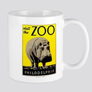 Antique 1936 Hippo Philadelphia Zoo Poster Mugs