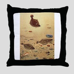 Vintage Marine Life Fish, Flounders Throw Pillow