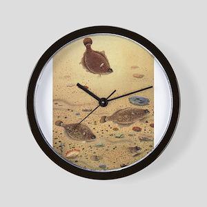Vintage Marine Life Fish, Flounders Wall Clock
