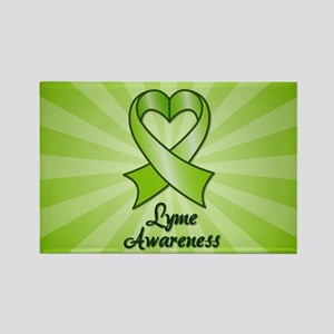 Lyme Disease Awareness Heart Ribbon Rectangle Magn