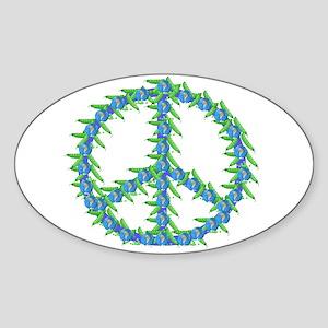 Peas Of Peace Sticker (Oval)