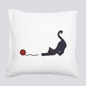 Cat and Yarn Square Canvas Pillow