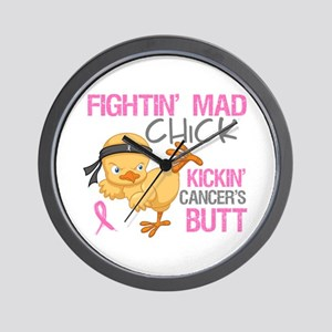 Fightin' Mad Chick Breast Cancer Wall Clock