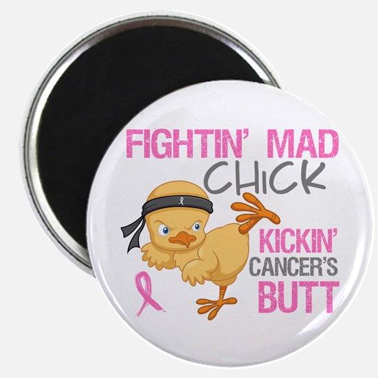 """Fightin' Mad Chick Breast Cancer 2.25"""" Magnet (100"""