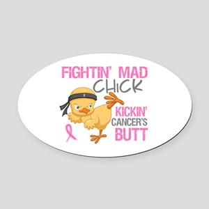 Fightin' Mad Chick Breast Cancer Oval Car Magnet