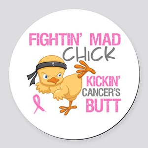 Fightin' Mad Chick Breast Cancer Round Car Magnet