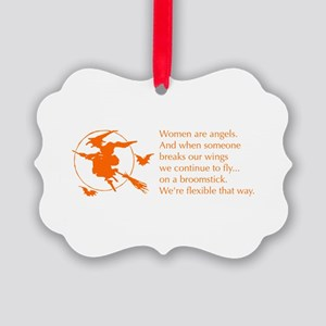 women-broomstick-orange Ornament